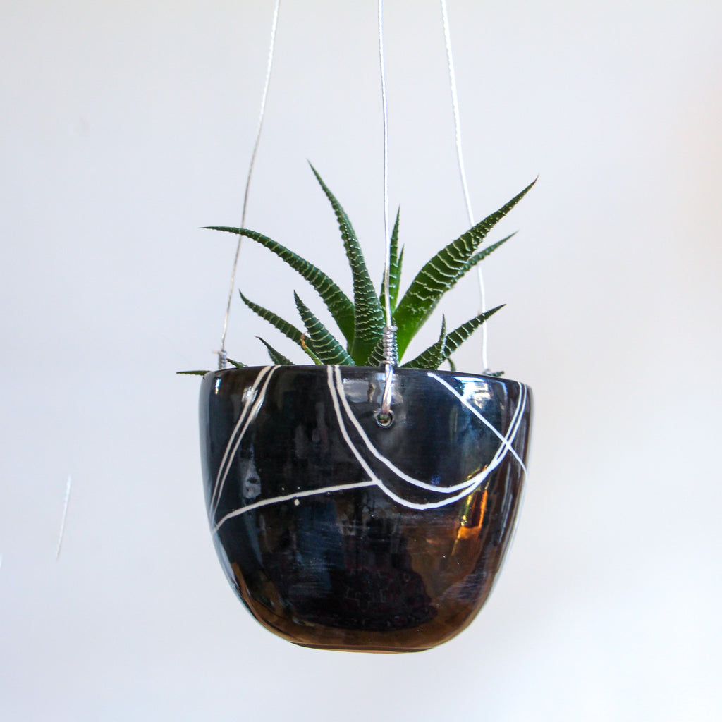 Onyx Carved Hanging Planter