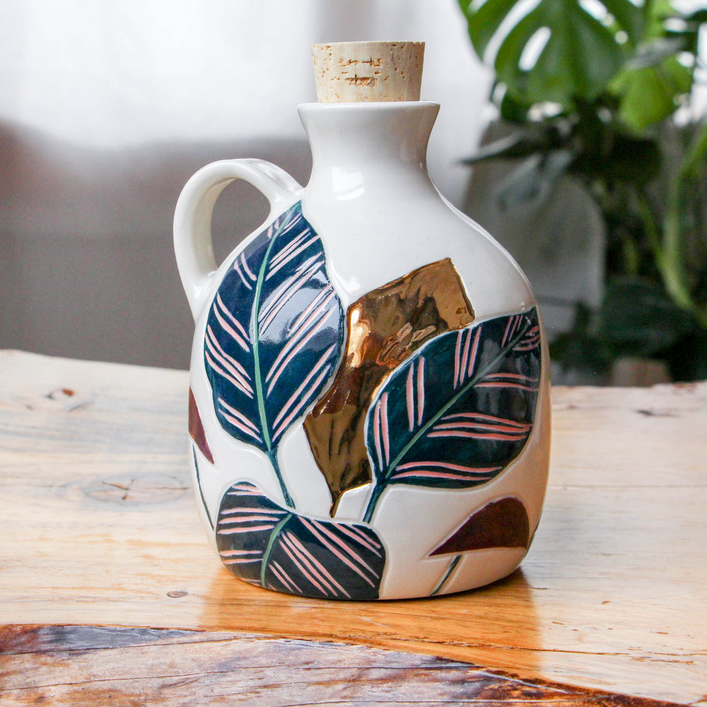 Gold Calathea Painted Jug