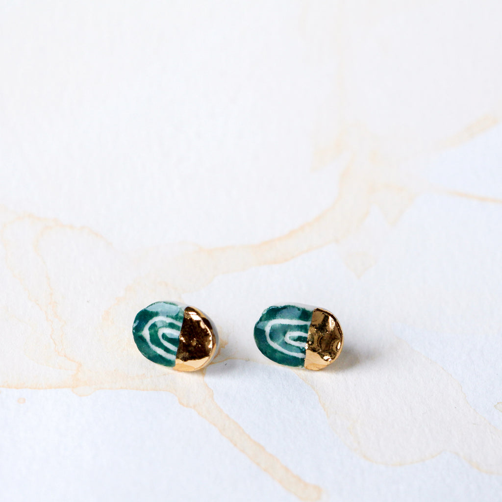 Emerald & Gold Oval Earring #1