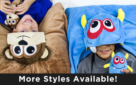 HoodiePillow® Pals - Pillowcase with Stuffed Animal