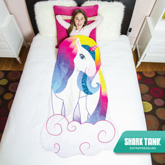 Unicorn Snuggle Blanket - Girls Cozy Minky Tail w/ Reversible Flip Sequins (Kids 3-9) Soft Handmade Slip In Sleep Sack