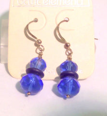 Double Bead Faceted Glass Earrings