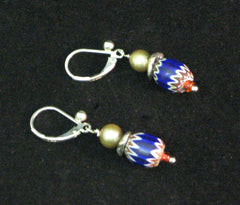 Blue/White/Red Bead Earrings