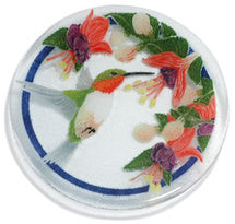 Peggy Karr Ruby Throated Humming Bird Glass Plate-sold out