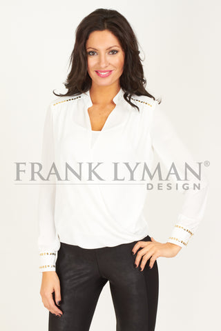 43633 (Blouse Only)  Ivory, Black   50% OFF