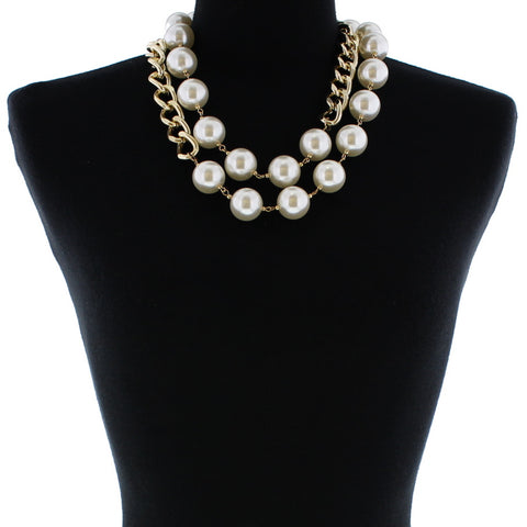 9648 (Gold pearl necklace)