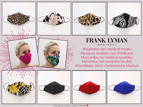 M-20128  Frank Lyman Masks (Non Surgical)  Packs Of 10. Customize Colours On Order. Must be 10