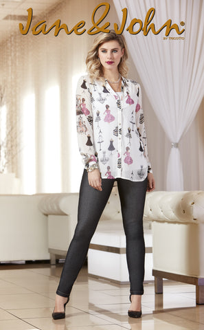 J-465 (Print blouse only)  Print on front/back and sleeves