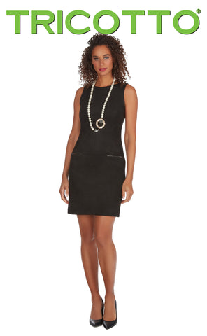 256-F20 (Dress)  Shorter length black dress approx. 34 inches long