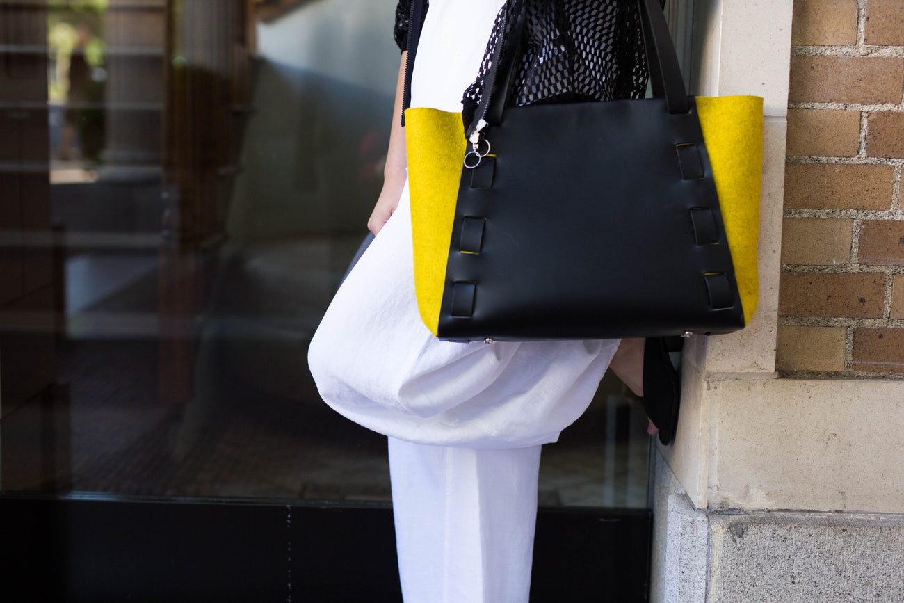 Adelle Stoll Armstrong Mini Tote in felt and leather