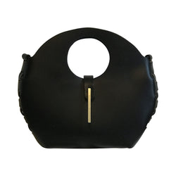 Adelle Stoll Handmade Curved Leather Cloverdale Handbag in Black