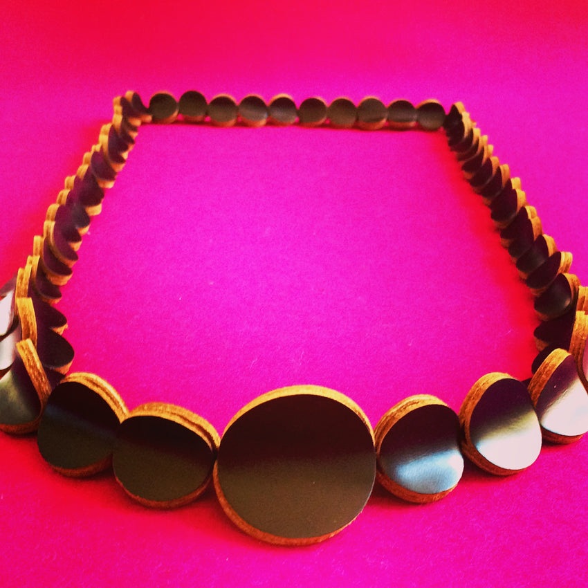 Adelle Stoll handmade leather Pebble necklace