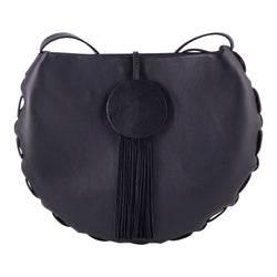 Annadel by Adelle Stoll, large circle shoulder bag with two interior pockets. Continuous adjustable strap.