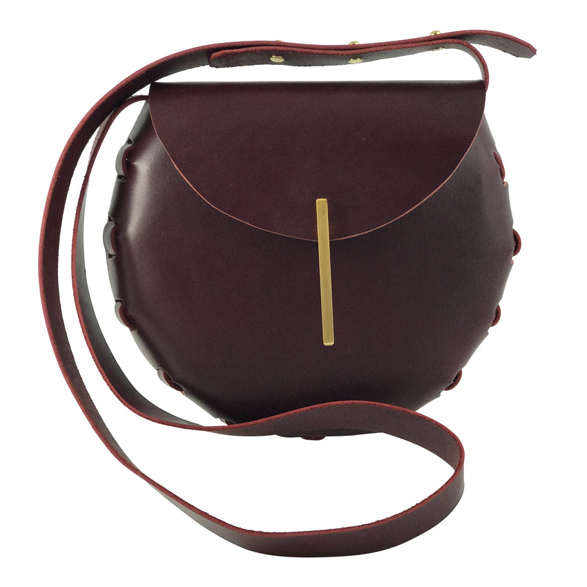 Adelle Stoll Handmade Fitch Crossbody Saddlebag in Brown leather