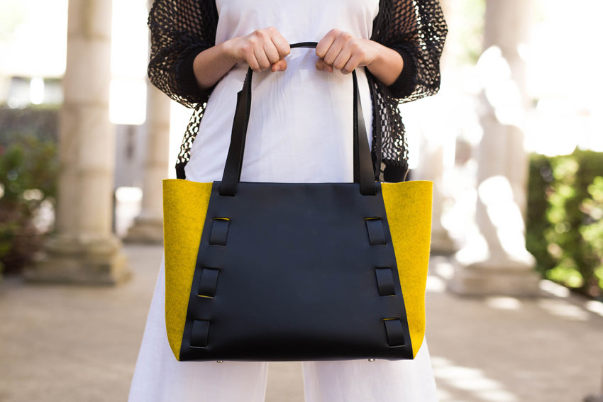 Adelle Stoll Handmade Riverfront Tote in Leather + Textile