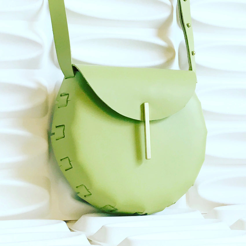 Adelle Stoll Handmade Fitch Crossbody Saddlebag in Green