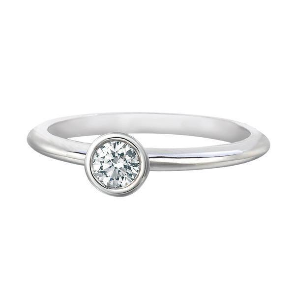 FOREVERMARK™  SOLITAIRE PETITE RING White Gold - KLARITY LONDON