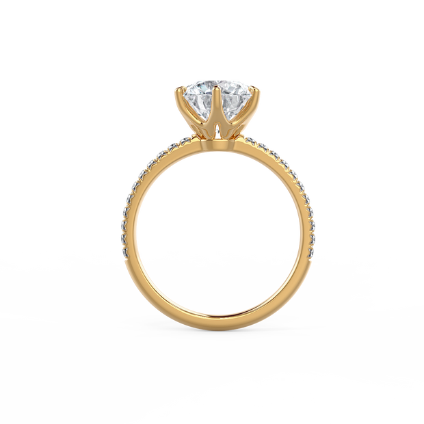 Solitaire Six Pave (18k YG) Round 0.90ct E SI1