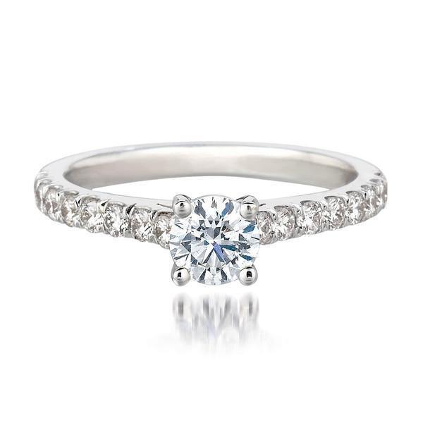 FOREVERMARK™ SOLITAIRE PAVÉ RING - KLARITY LONDON