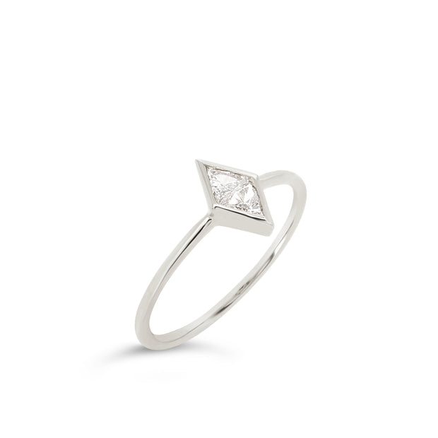 Diamond shape bezel ring - KLARITY LONDON