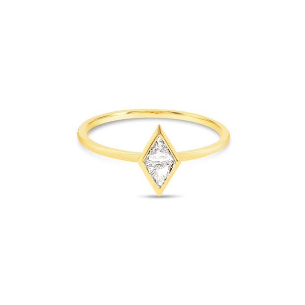 Diamond shape bezel ring
