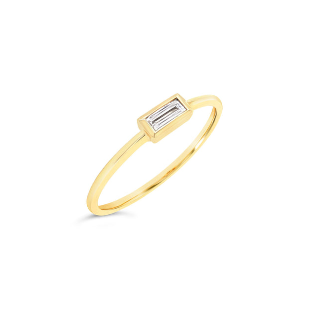 Baguette diamond bezel ring