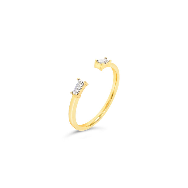 Open Cuff Tapered Baguette Diamond Ring