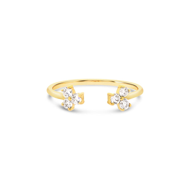 Open cuff trio diamond ring