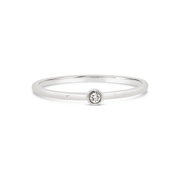 Tiny Diamond Bezel Ring - KLARITY LONDON