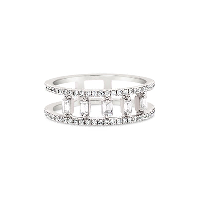 Floating baguettes double diamond band