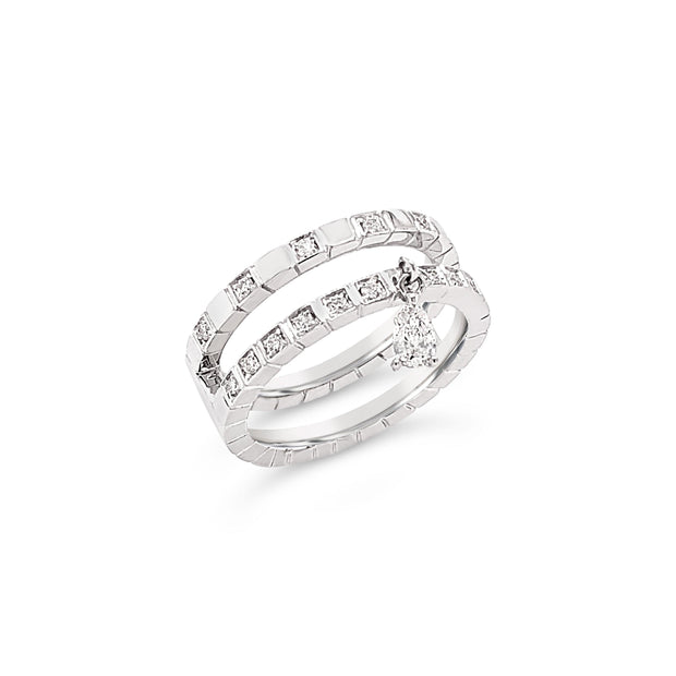 Double Band With Pear Diamond Charm
