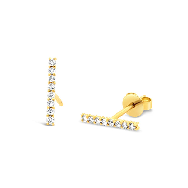 Diamond Bar Stud - KLARITY LONDON