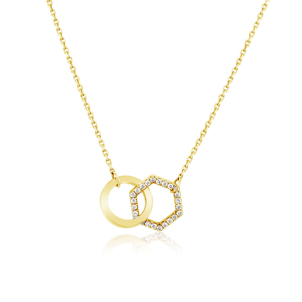 DIAMOND INTERLOCKING SHAPE NECKLACE