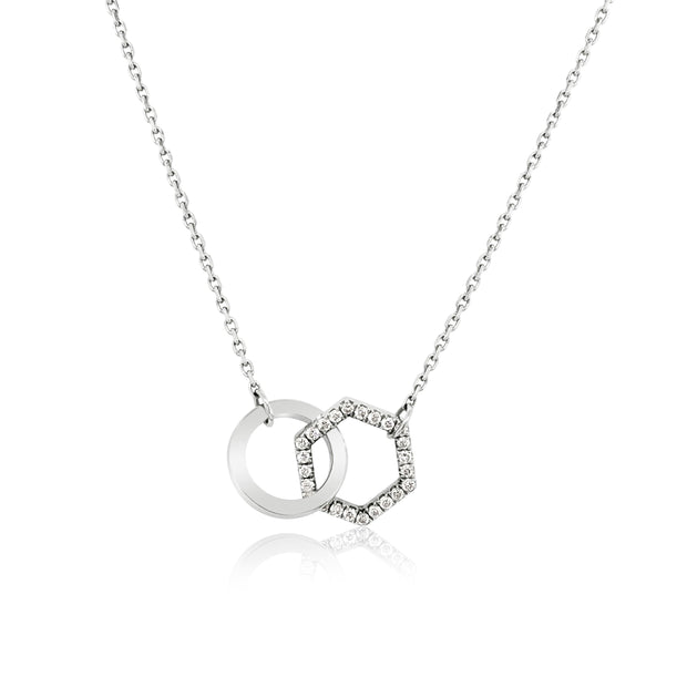 DIAMOND INTERLOCKING SHAPE NECKLACE - KLARITY LONDON