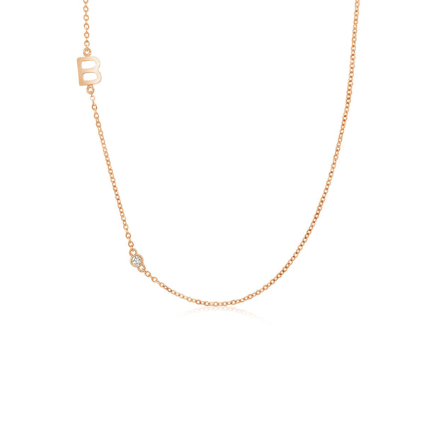 18K Gold | One Letter One Diamond Necklace