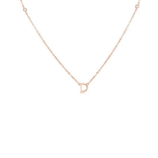 18K Gold | One Letter Two Diamond Necklace