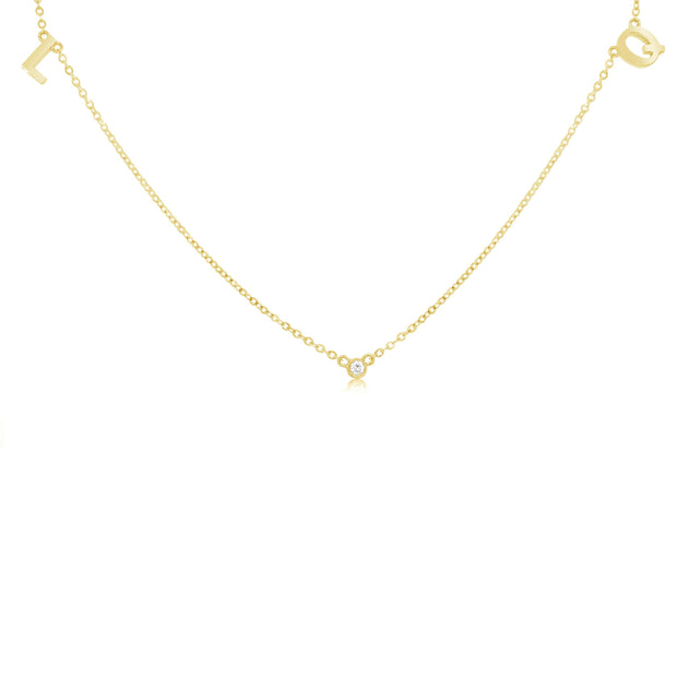18K Gold | Two Letter One Diamond Necklace