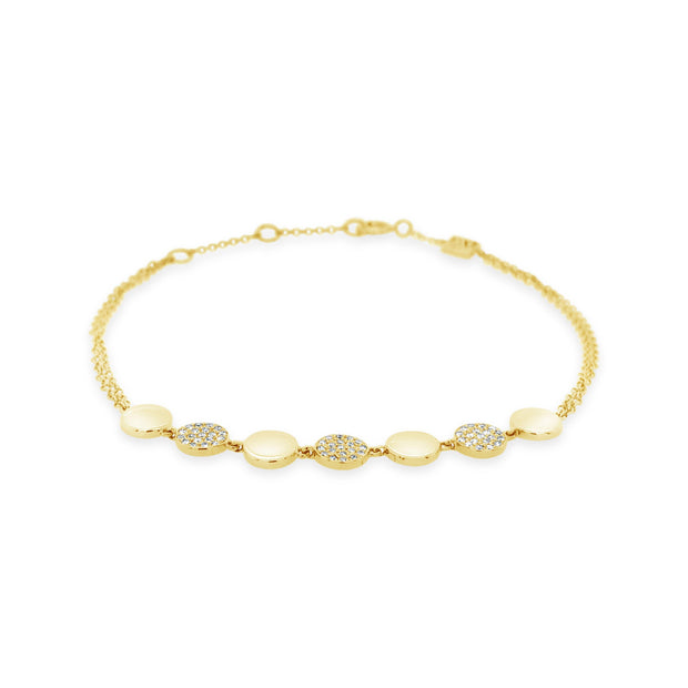 Alternating Diamond Coin Bracelet