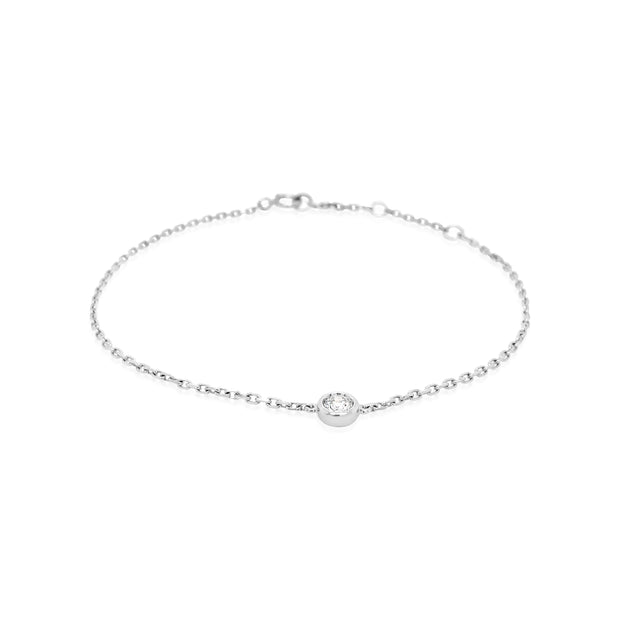 Round Diamond Bezel Bracelet - KLARITY LONDON