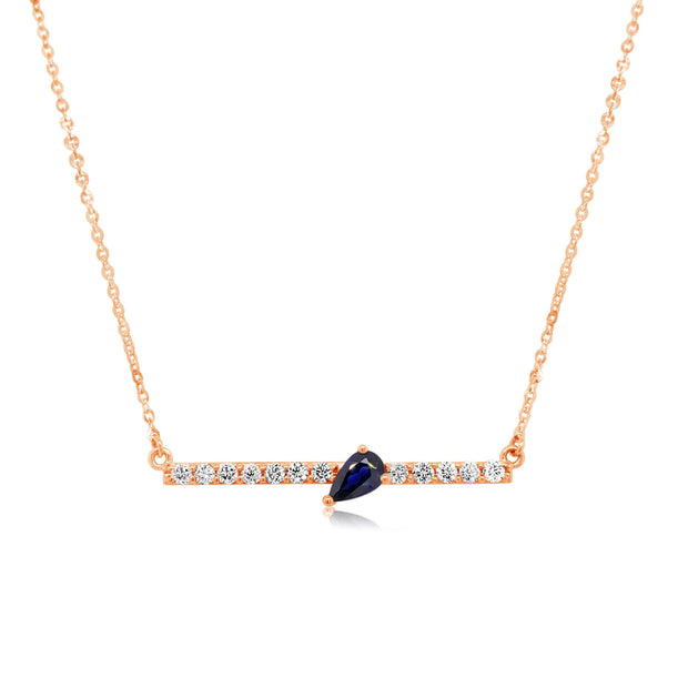DIAMOND BAR WITH SAPPHIRE PEAR