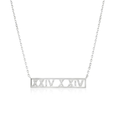 Roman numeral personalised diamond necklace