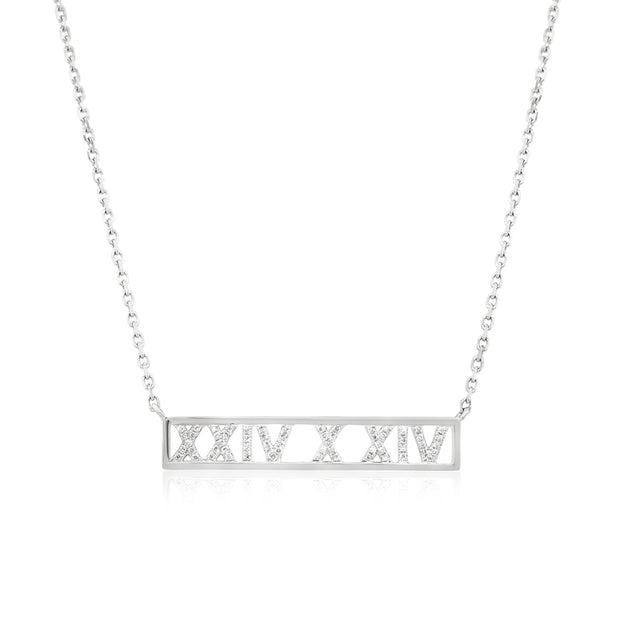 Roman numeral personalised diamond necklace - KLARITY LONDON