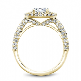 Cushion Double Halo Split Shoulder Ring