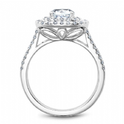 Cushion Cut Double Halo Split Shoulder Ring