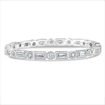 Beverley K Round and Baguette Diamond Band - KLARITY LONDON