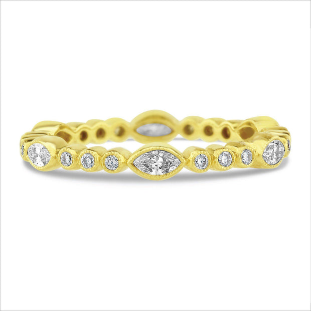 Beverley K Marquise and Round Diamond Band - KLARITY LONDON