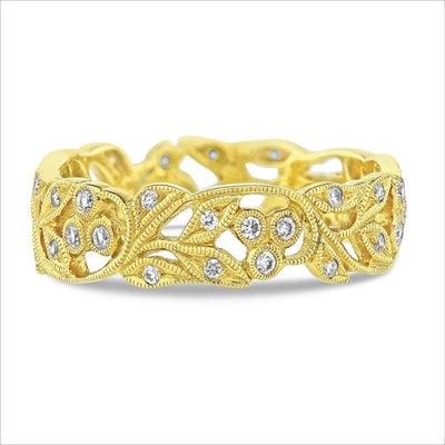 Beverley K Vintage Leaf Diamond Band - KLARITY LONDON