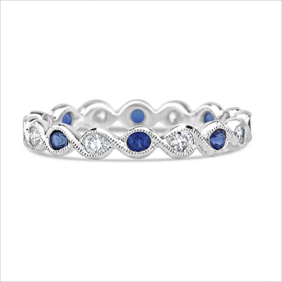 Beverley K Diamond and Sapphire Twist Band - KLARITY LONDON