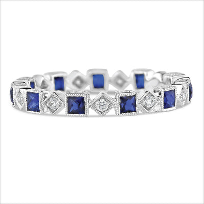 Beverley K Square Sapphire and Diamond Band - KLARITY LONDON