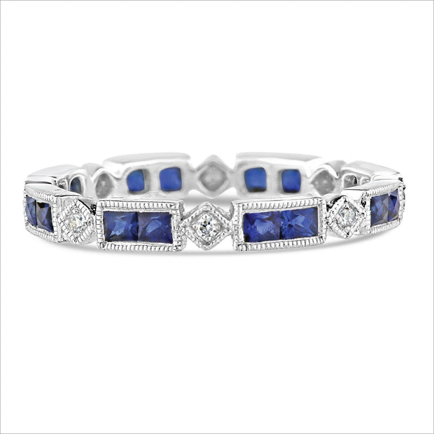 Beverley K Rectangular and Square Sapphire and Diamond Band - KLARITY LONDON